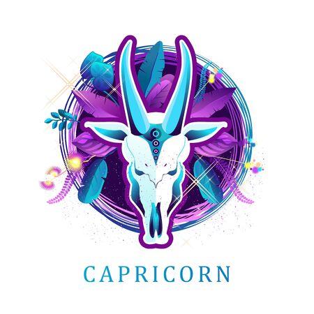 Capricorn zodiac sign white background
