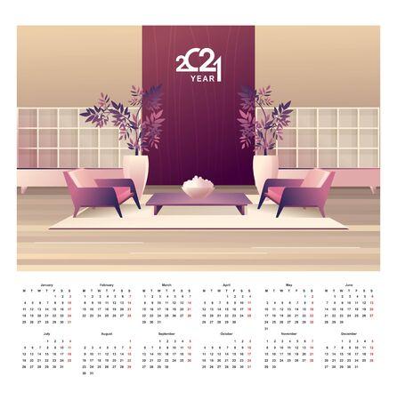 2021 calendar apartment interior english vector