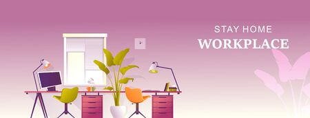 Design workplace at home, office for remote work, horizontal banner, vector illustration, desktop near the window