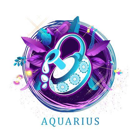 Aquarius zodiac sign white background 向量圖像