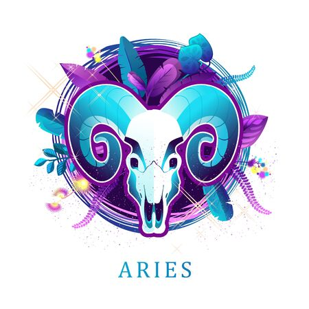 Aries zodiac sign white background