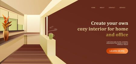 interior apartment concept banner for a home page 向量圖像