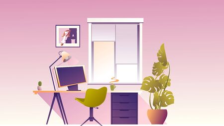 interior workplace at home office banner
