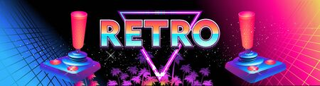 Futuristic horizontal banner, retro computer game in the style of the 80s on a game console with a joystick. Neon laser beams loading page 向量圖像