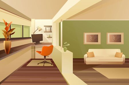 Hall balcony apartment interior vector
