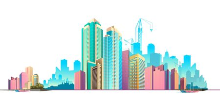 Horizontal banner daytime city landscape panoramic view of the city Vector illustration 向量圖像