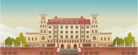 Exterior Facade of a Country Multistory Hotel Ornate Victorian Style Horizontal Vector Illustration Illustration