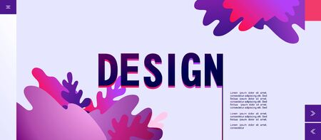 Abstract conceptual banner with beautiful spots and plants in unreal neon colors, futuristic design elements for home internet landing page.