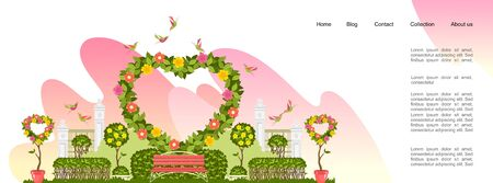 conceptual banner of a festive wedding ceremony or wedding, a wedding arch decorated with flowers and plants, an invitation or landing page template for the Internet 向量圖像