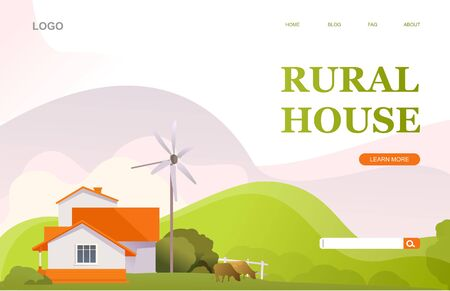 illustration for homepage countryside countryside landscape, vector conceptual banner