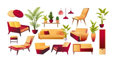 vector collection of furniture, tables sofas for design rooms on a white background isolated 向量圖像
