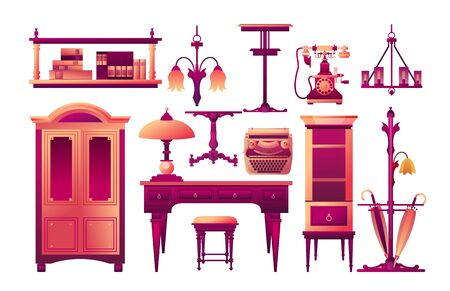 Vector collection of antique furniture for creating the interior of an office at home or in an office, isolated on a white background mahogany color 向量圖像
