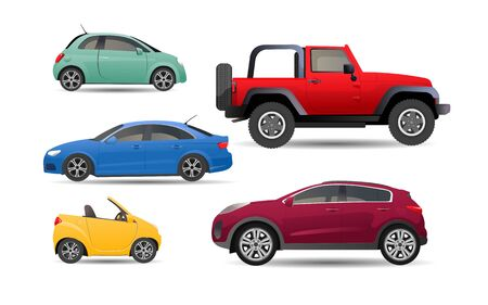 Set of personal realistic cars Illustration