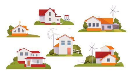 set of country houses on a white background