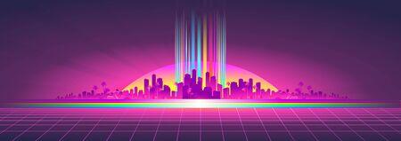 Futuristic horizontal banner virtual reality 向量圖像
