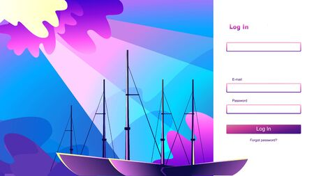 login form vector abstract sea landscape website