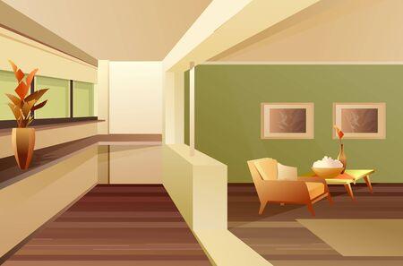 Hall balcony apartment interior vector