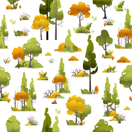 bushes trees seamless pattern vector