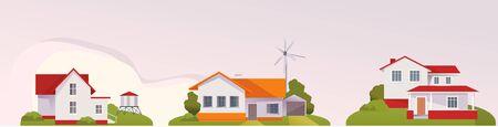 Farm, agriculture rural landscape, village house. Vector horizontal illustration, flat style 向量圖像