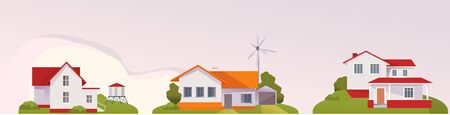 Farm, agriculture rural landscape, village house. Vector horizontal illustration, flat style Illustration