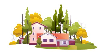 rural house among the trees Illustration