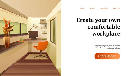 conceptual banner interior of a balcony room for a home page of a construction company website internet, room design vector horizontal illustration on a white background