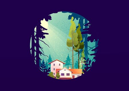 Wooden house in the deep forest, foresters hut, vector cartoon in a round shape, mystical light Ilustração