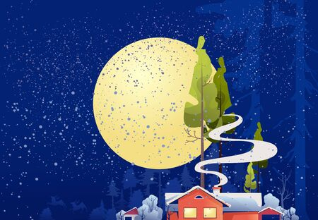 Wooden house in the deep forest, foresters hut, vector cartoon, mystical moonlight, night sky Illustration