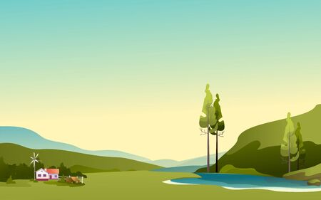 farm house, agricultural land on meadow fields horizontal summer skyline vector illustration Illustration