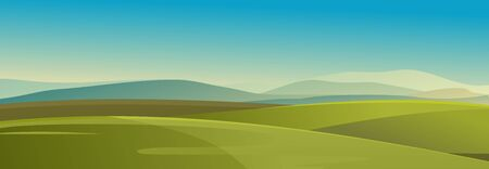 vector illustration landscape of countryside, meadow farmland, horizontal view, summer day Illustration