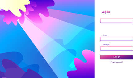 Page template for website, home page. Test screen. Authorization or account registration. For computer, horizontal vector illustration. Sign up and Sign In forms 向量圖像