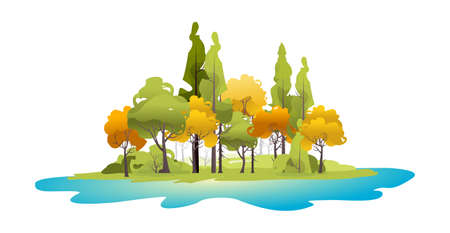 vector illustration of a small island shore or beach near the forest Illustration