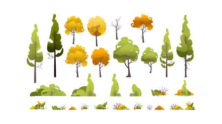 Vector set of design elements of trees and plants on a white isolated background.