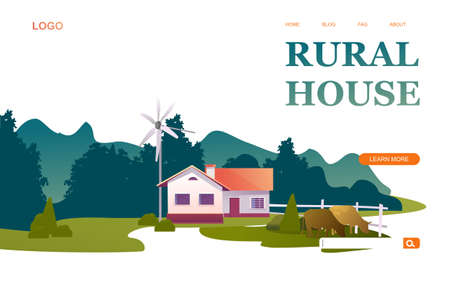 Conceptual banner for home internet old country rural landscape on a white background