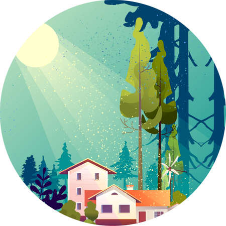 Wooden house in the deep forest, foresters hut, vector cartoon in a round shape, mystical light Illustration