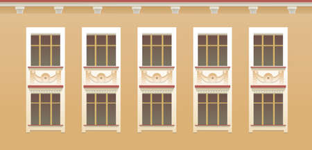 exterior wall window seamless pattern Illustration