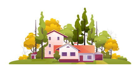 Country house, farm surrounded by trees annex garden summer illustration vector isolated on white background