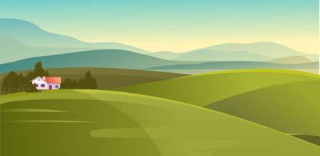 farm house, agricultural land on meadow fields horizontal summer skyline vector illustration 版權商用圖片 - 151460942
