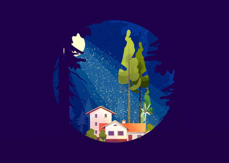 Wooden house in the deep forest, foresters hut, vector cartoon in a round shape, mystical moonlight, night sky