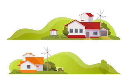 Country house rural landscape banner