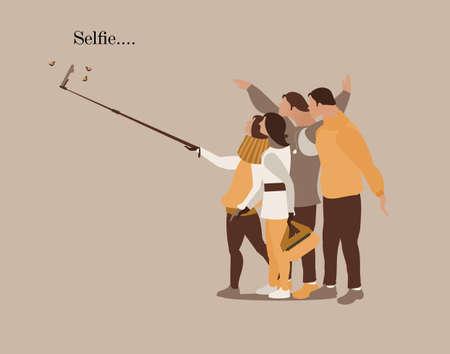Selfie modern people card vector