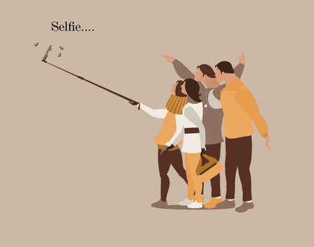 Selfie modern people card vector