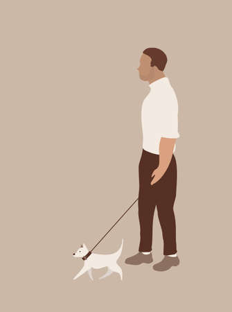 abstract modern men and dog vector card