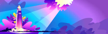 abstract vector banner storm sea landscape