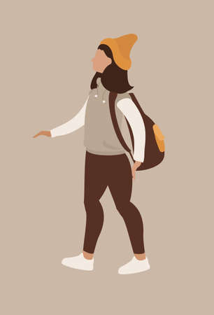 abstract modern girl vector card Illustration