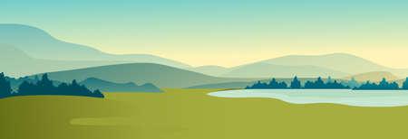 Summer landscape of meadow field