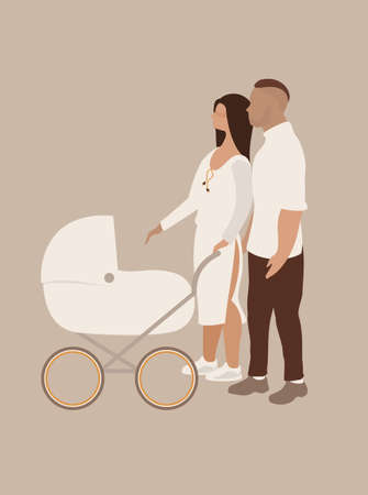 married couple with baby carriage