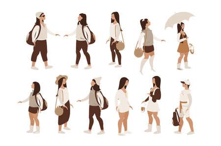 set of modern girls women