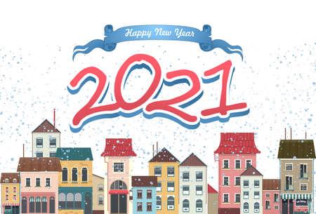 2021 horizontal english city calendar cozy city 版權商用圖片 - 157159006