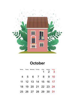 wall calendar page 2021 one month 向量圖像